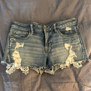 Express lace distressed jean shorts